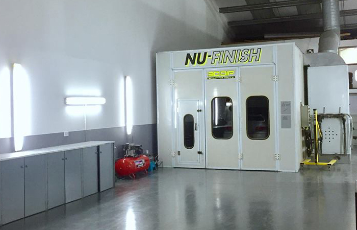 Inside NuFinish repair centre Paint booth